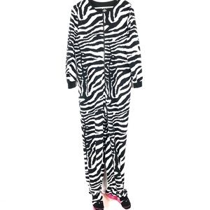 Nick Nora Pajama One Suit Zebra ZIP Women XL